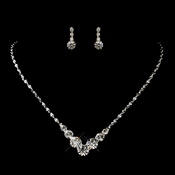 Silver Clear Graduated Round Rhinestone Necklace 5116 & Earrings 4012-6 Jewelry Set