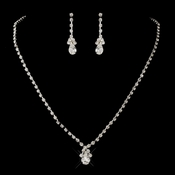 Silver Clear Round & Teardrop Necklace & Earrings Jewelry Set 6177