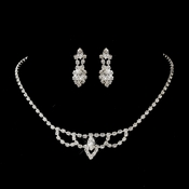Silver Clear Round & Marquise Rhinestone Necklace 7011-2 & Earrings 7662-1