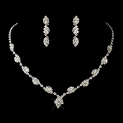 Silver Clear Marquise & Clear Round Necklace 9341 & Earrings 6122 Jewelry Set