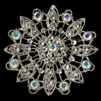Elegant Vintage Crystal Bridal Pin for Hair or Gown Brooch 27 Antique Silver with Clear and AB Rhinestones
