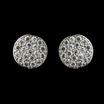 Antique Silver Clear CZ Crystal Pave Stud Bridal Earrings 4741