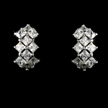Curved Cubic Zirconia Crystal Bridal Earrings E-2635