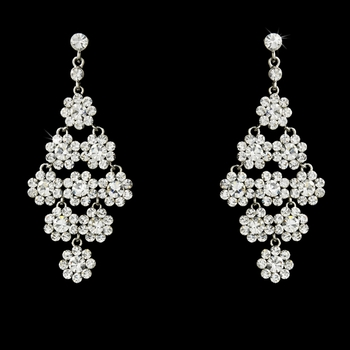 Glamorous Silver & Clear Chandelier Earrings E 939