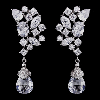 Silver CZ Earrings 8638