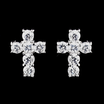 Antique Silver Clear CZ Crystal Earrings 8901