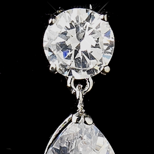 Silver Clear Round and Dangle Tear Drop CZ Crystal Dangle Earrings 6042