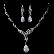 Silver Clear CZ Necklace & Earring Set 1292