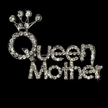 * Silver Queen Mother Rhinestone Brooch 30112***Only 5 Left***