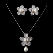 Pearl & CZ Pave Flower Jewelry Set 8619