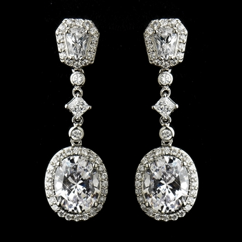 Antique Silver Clear Princess Oval CZ Crystal Dangle Bridal Earrings 8655
