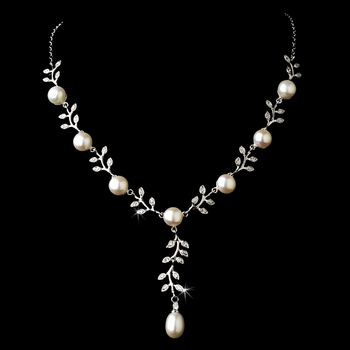 Graceful Silver Clear CZ & Ivory Pearl Vine Necklace 6518