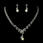 Antique Silver CZ Crystal & Ivory Pearl Necklace & Earrings Bridal Jewelry Set 8622