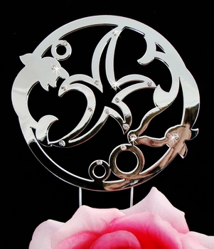 Sterling Silver Dolphin & Starfish Beach Cake Topper with Swarovski Crystals