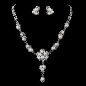 Antique Silver White Pearl Necklace & Earring Set 12667