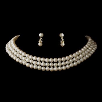 Gold Ivory 3 Row Glass Pearl Choker Necklace 3201 & Earrings 1402 Jewelry Set
