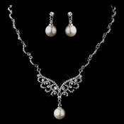 Silver White Necklace & Earring Set 12666