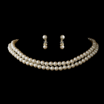 Two Row Gold Ivory Glass Pearl Choker Necklace 4121 & Earrings 1402 Jewelry Set