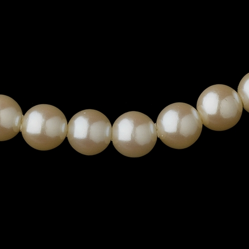 Gold Ivory Pearl Necklace 6001 & Earrings 6042 Jewelry Set