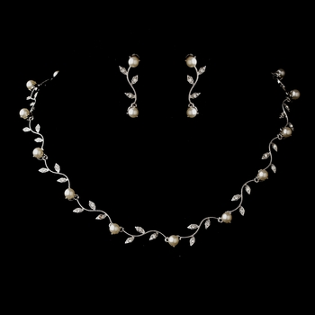 Silver Ivory Pearl & CZ Crystal Necklace & Earrings Jewelry Set 0112