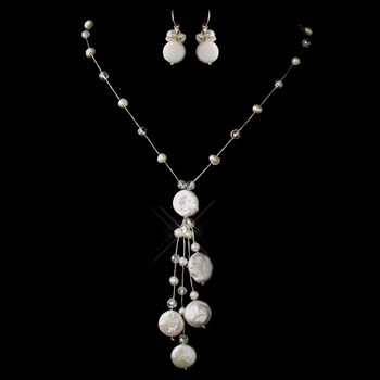 Freshwater Coin, Pearl & Swarovski Crystal Bead Thai Silk Necklace 0121 & Earrings 0126 Jewelry Set
