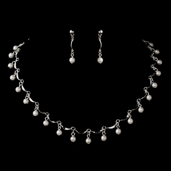 Silver White Pearl Dangle Necklace & Earrings Jewelry Set 0991