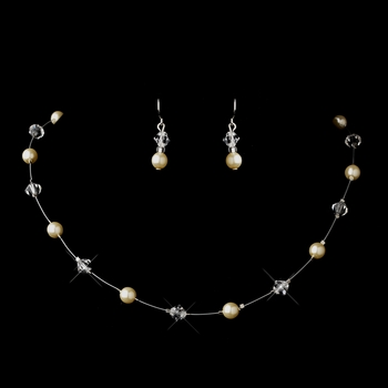 Silver Ivory Illusion Czech Glass Pearl & Swarovski Crystal Bead Necklace & Earrings Jewelry Set 2031