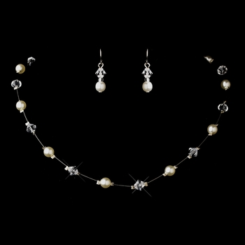 Silver White Illusion Czech Glass Pearl & Swarovski Crystal Bead Necklace & Earrings Jewelry Set 2031