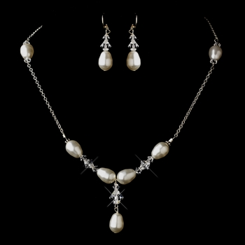 Silver Ivory Glass Pearl & Swarovski Crystal Bead Necklace & Earrings Jewelry Set 2060