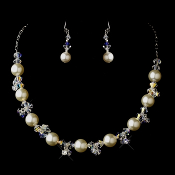 Silver White Glass Pearl & Swarovski Crystal Bead Necklace & Earrings Jewelry Set 2101