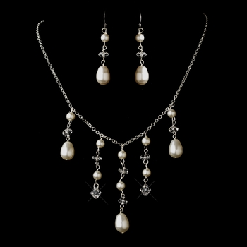 Silver Ivory Glass Pearl & Swarovski Crystal Bead Dangle Necklace & Earrings Jewelry Set 2124