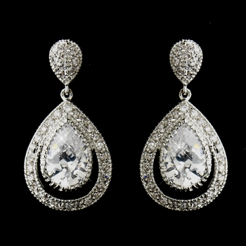 Antique Silver Clear CZ Dangle Drop Bridal Earrings 7427