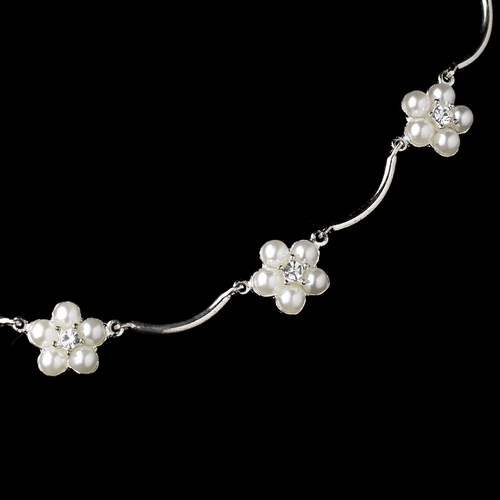 Silver White Pearl Floral Pattern Necklace & Earrings Jewelry Set 2606