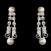 Silver White Pearl & Clear Swarovski Crystal Bead Filigree Necklace & Earrings Jewelry Set 2706