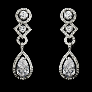 Antique Silver Clear Cubic Zirconia Bridal Earrings E 3824 (Clip On or Pierced)
