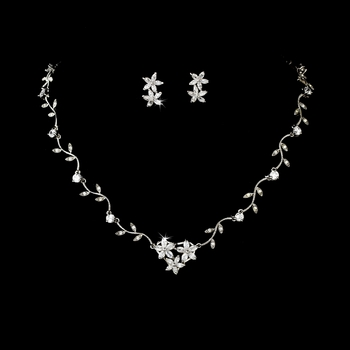 Silver Cubic Zirconia Star & Vine Necklace Set NE 2016***Discontinued***