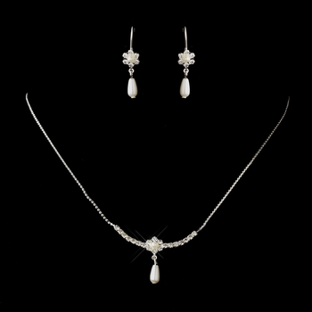 Silver White Pearl & Clear Round Rhinestone Necklace & Earrings Jewelry Set 7026