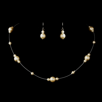 Silver Ivory Pearl Illusion Necklace & Earrings Jewelry Set 8601