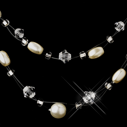 Silver White Glass Pearl, Czech Glass Bead & Swarovski Crystal Bead Illusion Necklace & Earrings Jewelry Set 8607