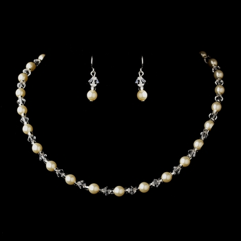 Silver Ivory Czech Glass Pearl and Bead & Swarovski Crystal Bead Necklace 8657 & Earrings 2031 Jewelry Set