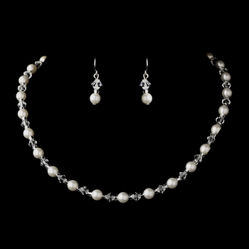 Silver White Czech Glass Pearl and Bead & Swarovski Crystal Bead 8657 & Earrings 2031