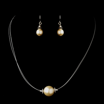 Silver Ivory Czech Glass Pearl & Bali Bead Illusion Necklace & Earrings Jewelry Set 8662