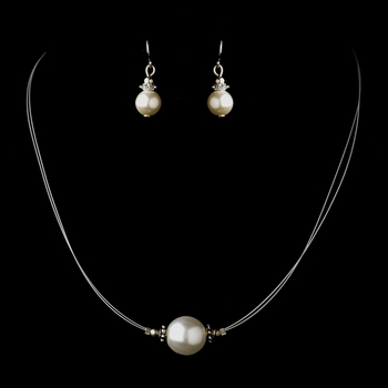 Silver White Czech Glass Pearl & Bali Bead Illusion Necklace & Earrings Jewelry Set 8662