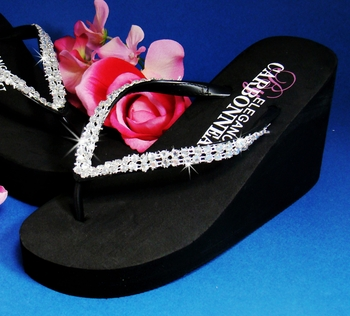 Crystals ~ Black High *Wedge Bridal Flip Flops with Crystal Accents *Slightly Defective*