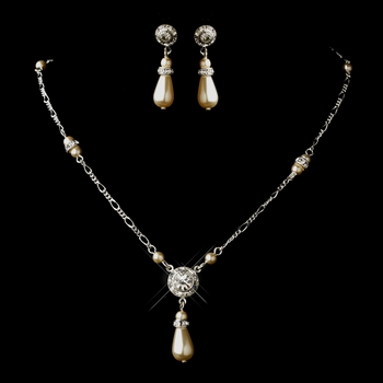 Silver Ivory Glass Pearl & Clear Rhinestone Drop Necklace & Earrings Jewelry Set 8827