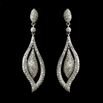 Antique Silver Clear CZ Crystal Bridal Dangle Bridal Earrings 8754