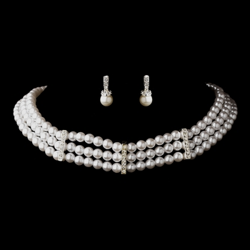 3 Row Silver White Pearl & Clear Rhinestone Rondelle Necklace 9851 & Earrings 3592