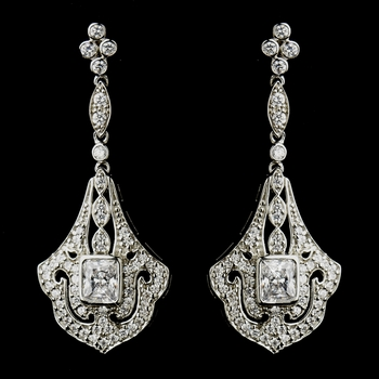 Antique Silver Clear CZ Crystal Chandelier Bridal Earrings 8651***Discontinued***