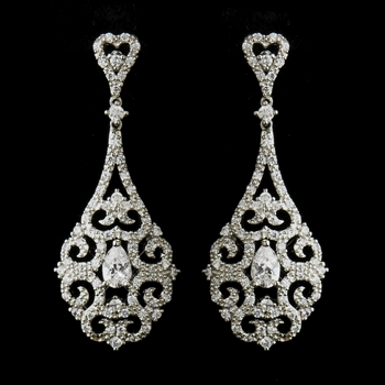 Antique Silver Clear CZ Tear Drop Crystal Dangle Bridal Earrings 8780 * Discontinued *