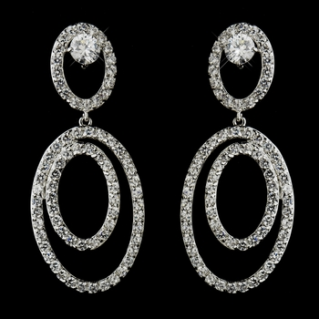 Antique Silver Clear CZ Crystal Hoop Dangle Bridal Earrings 4701